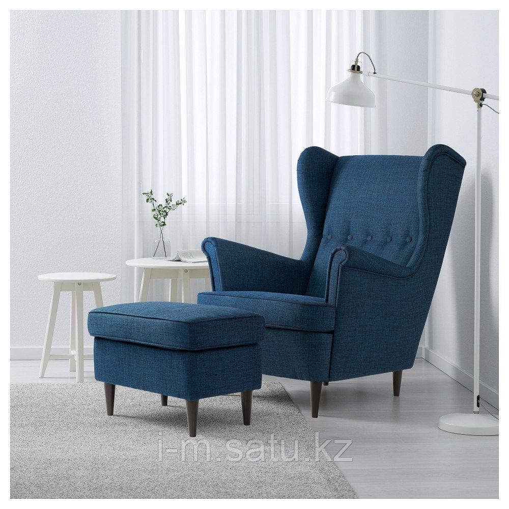 СТРАНДМОН Кресло с подголовником, Шифтебу темно-синий, синий