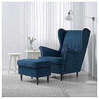 СТРАНДМОН Кресло с подголовником, Шифтебу темно-синий, синий, фото 1