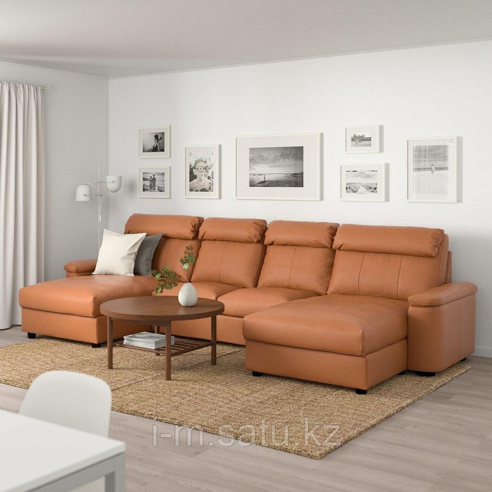 ЛИДГУЛЬТ 4-местный диван, с козеткой, Гранн/Бумстад золотисто-коричневый, с козеткой/Гранн/Бумстад золотисто-к