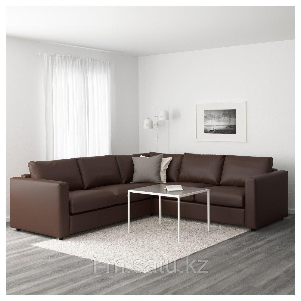 ВИМЛЕ 4-местный угловой диван, Фарста темно-коричневый, Фарста темно-коричневый