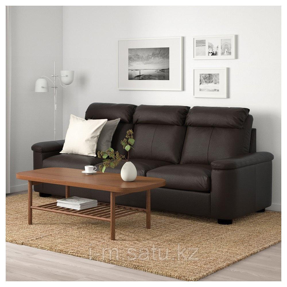 ЛИДГУЛЬТ 3-местный диван, Гранн/Бумстад темно-коричневый, Гранн/Бумстад темно-коричневый