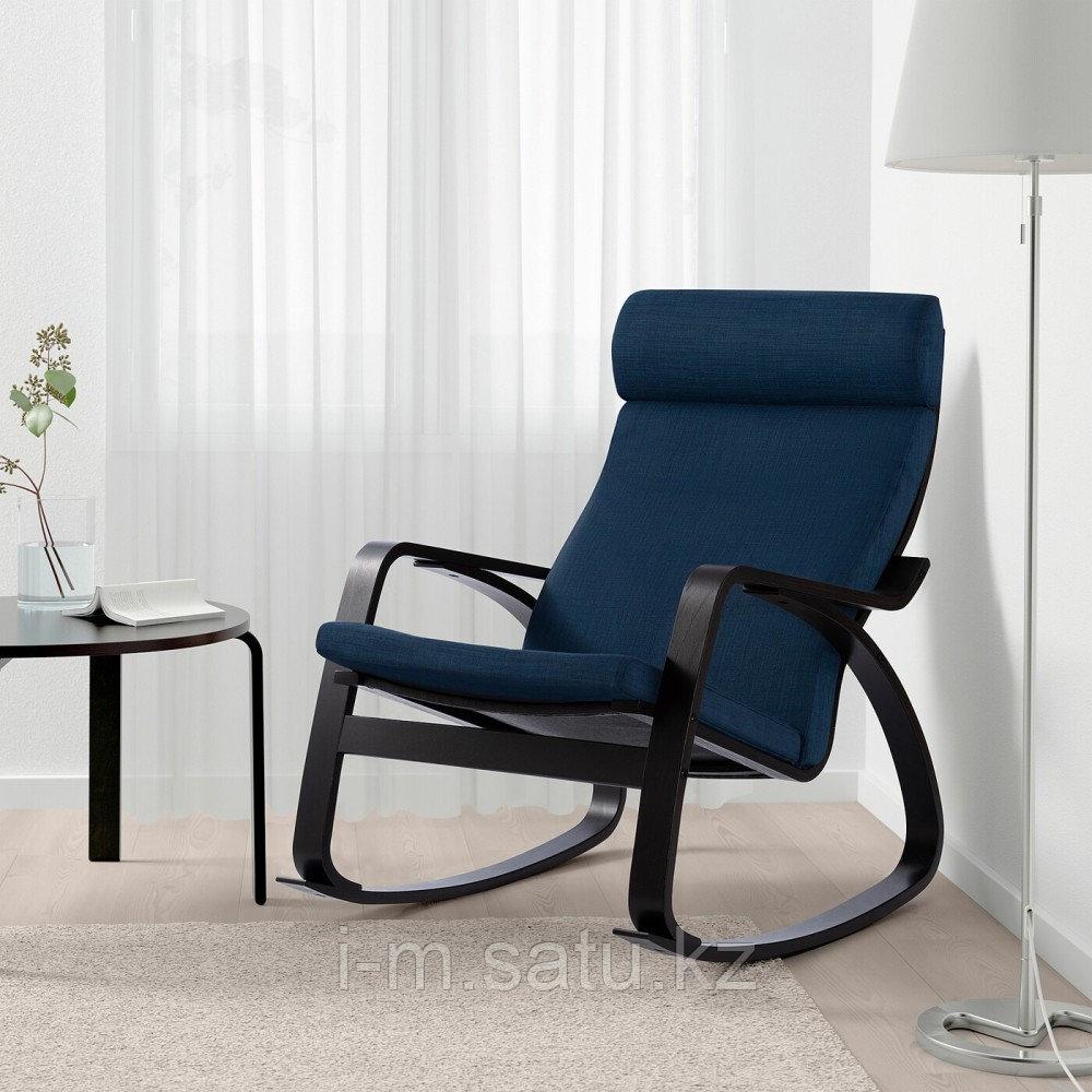 ПОЭНГ Кресло-качалка, черно-коричневый, Шифтебу темно-синий, Шифтебу темно-синий