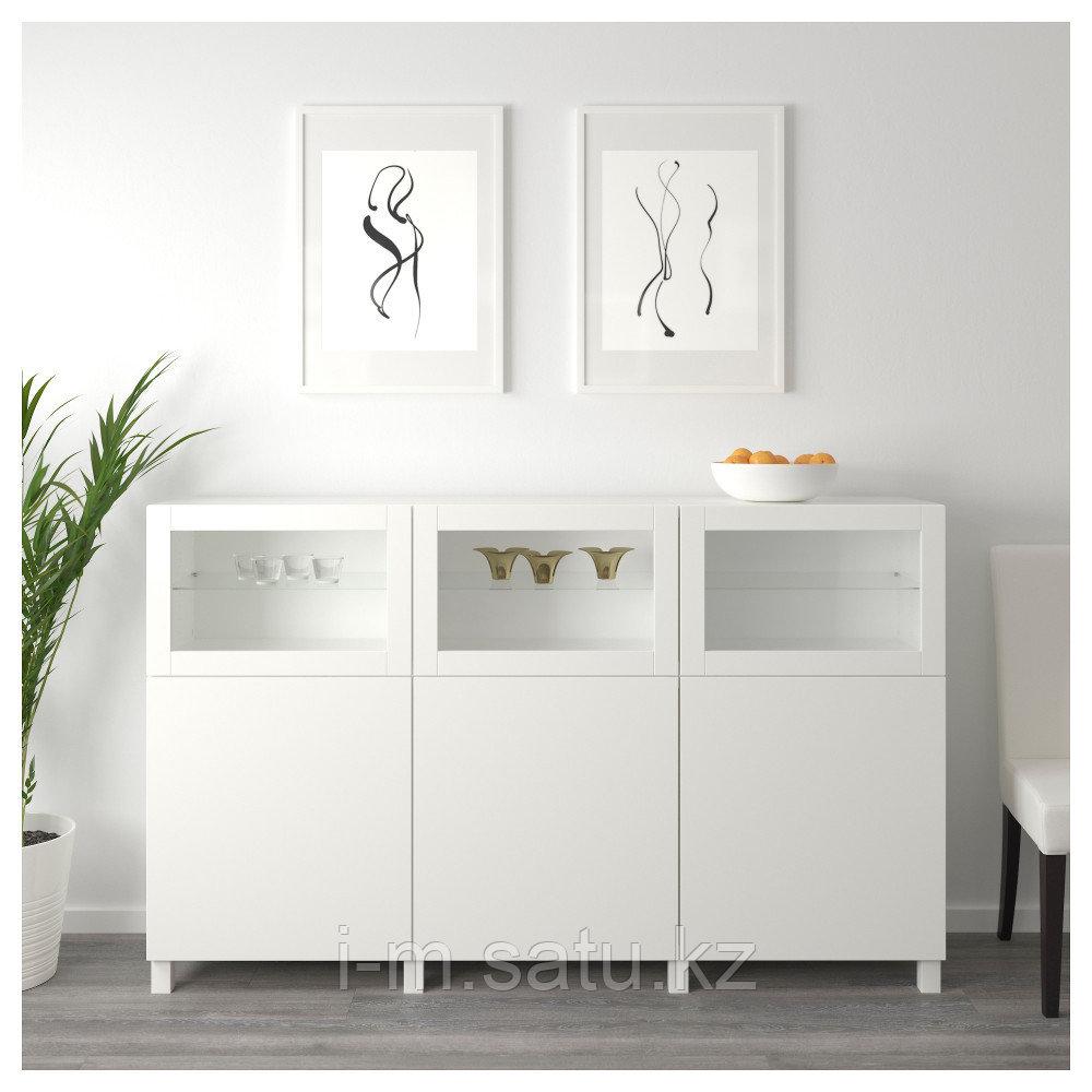 БЕСТО Комбинация для хранения с дверцами, белый Лаппвикен, Синдвик белый прозрачное стекло, 180x42x112 см