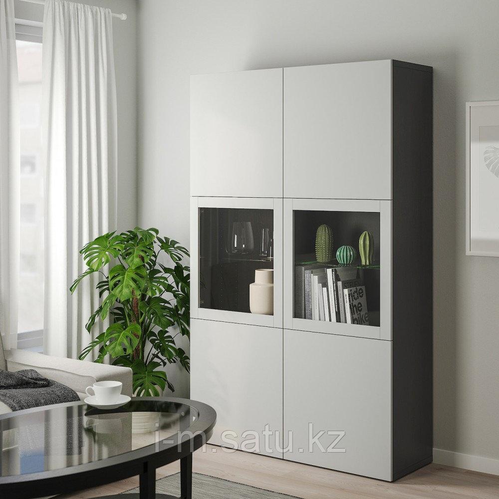 БЕСТО Комбинация д/хранения+стекл дверц, черно-коричневый, Лаппвикен светло-серый  120x40x192 см