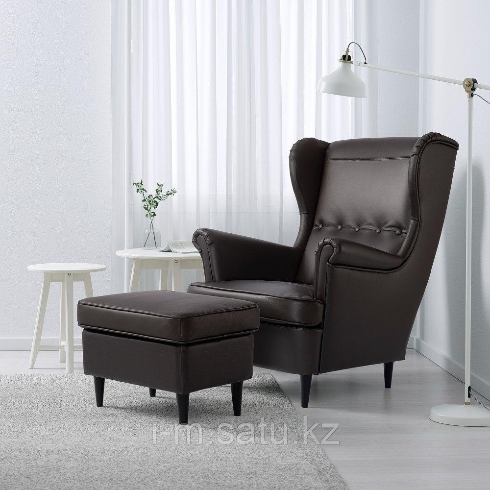 СТРАНДМОН Кресло с подголовником, Гранн/Бумстад темно-коричневый, Гранн/Бумстад темно-коричневый