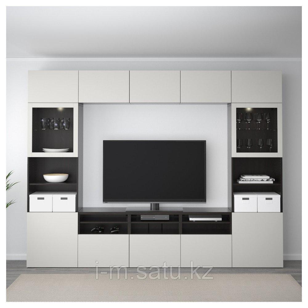 БЕСТО Шкаф для ТВ, комбин/стеклян дверцы, черно-коричневый, Лаппвикен светло-серый  300x40x230 см