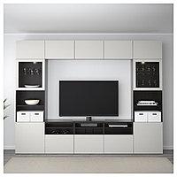 БЕСТО Шкаф для ТВ, комбин/стеклян дверцы, черно-коричневый, Лаппвикен светло-серый  300x40x230 см, фото 1