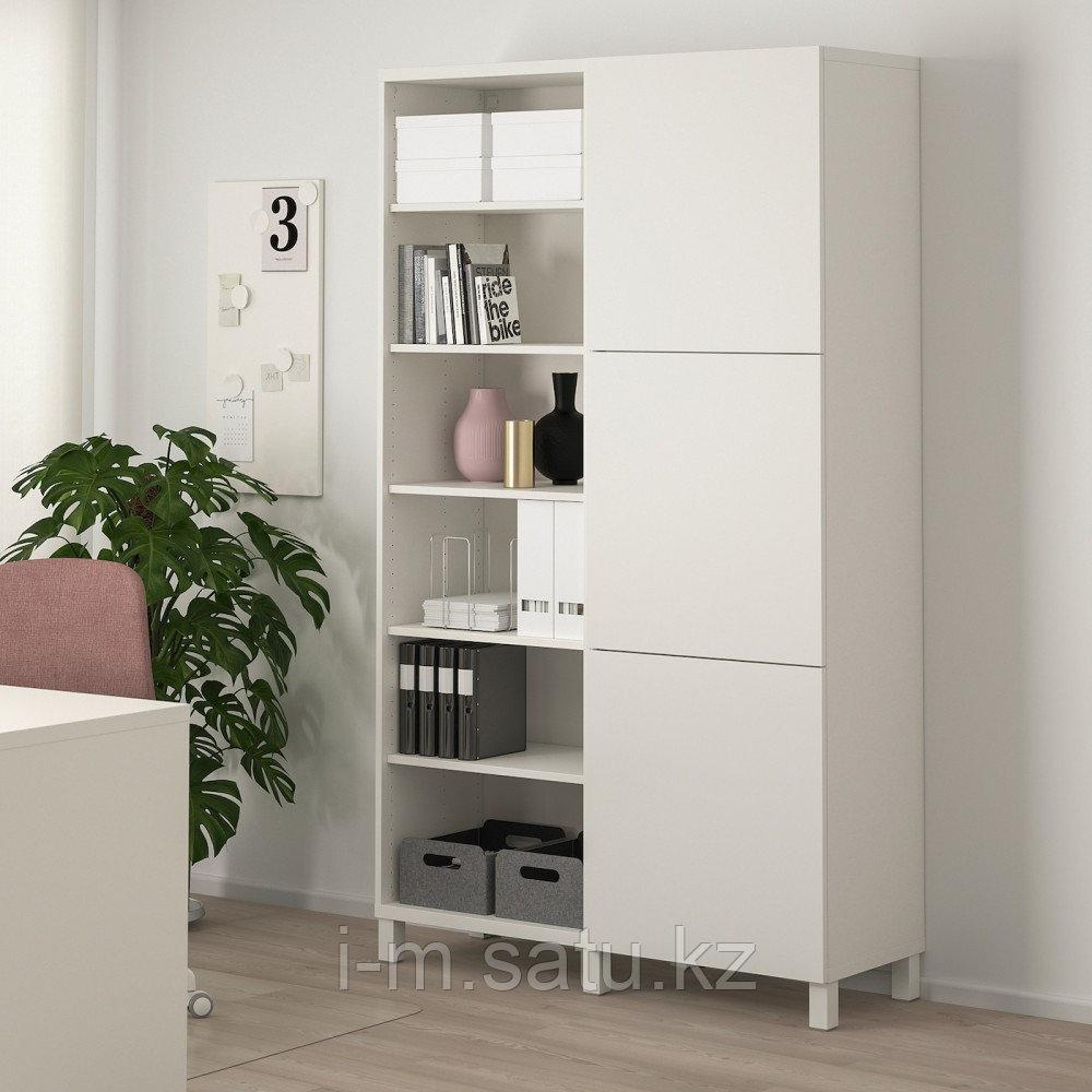 БЕСТО Комбинация для хранения с дверцами, белый, Лаппвик/стуббарп белый, 120x42x202 см