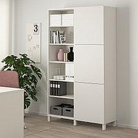 БЕСТО Комбинация для хранения с дверцами, белый, Лаппвик/стуббарп белый, 120x42x202 см, фото 1