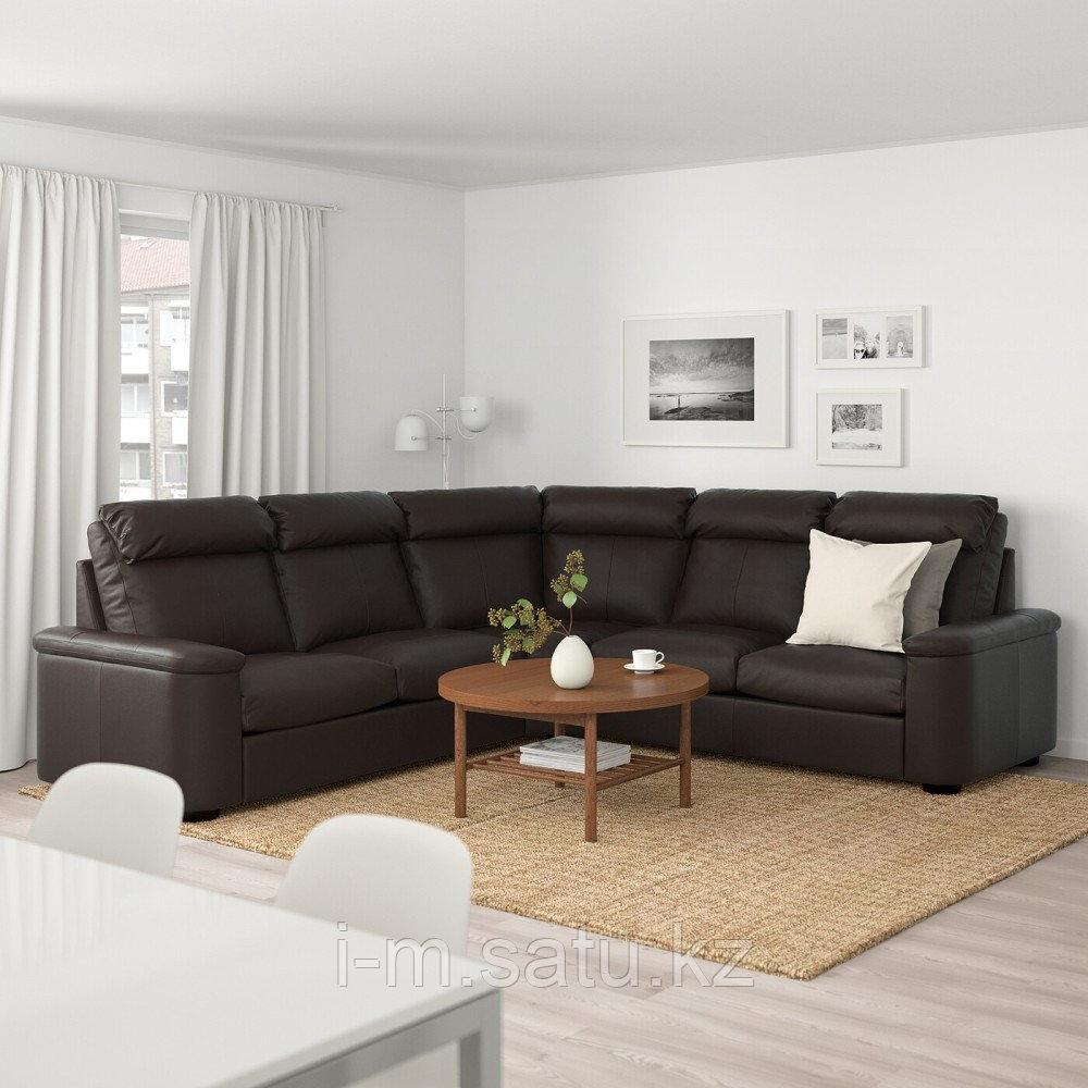 ЛИДГУЛЬТ 5-местный угловой диван, Гранн/Бумстад темно-коричневый, Гранн/Бумстад темно-коричневый