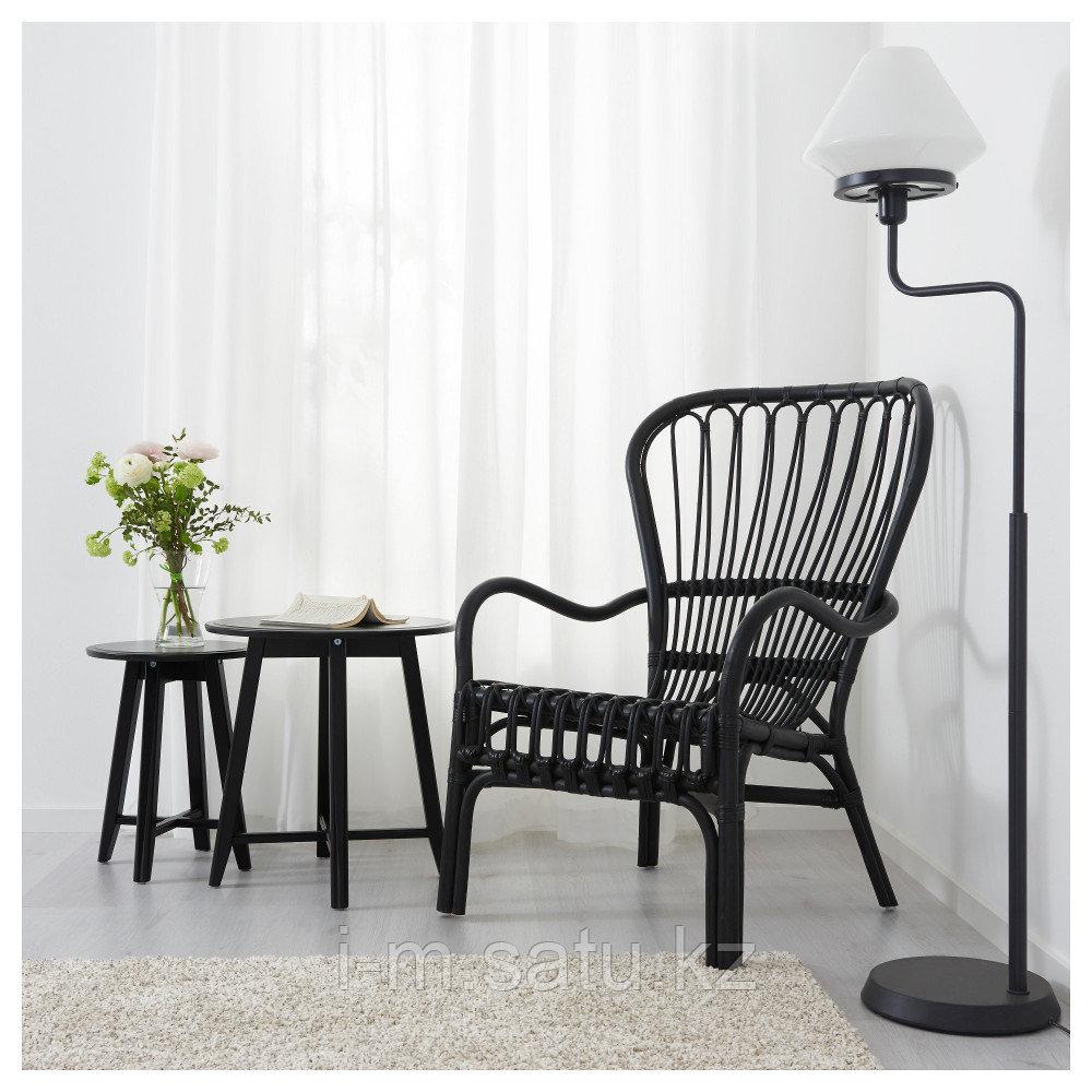 СТУРСЕЛЕ Кресло c высокой спинкой, черный, ротанг, черный