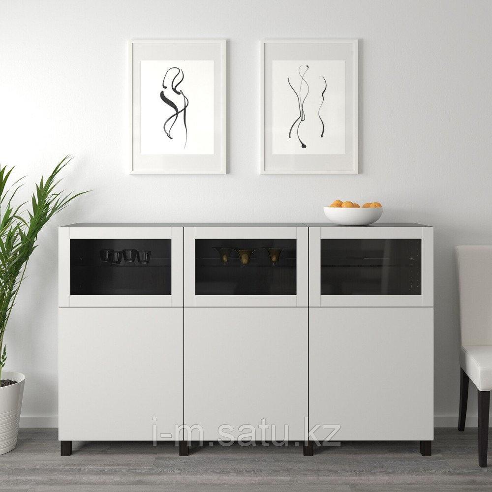 БЕСТО Комбинация для хранения с дверцами, черно-коричневый Лаппвикен, Синдвик светло-серый 180x42x112 см
