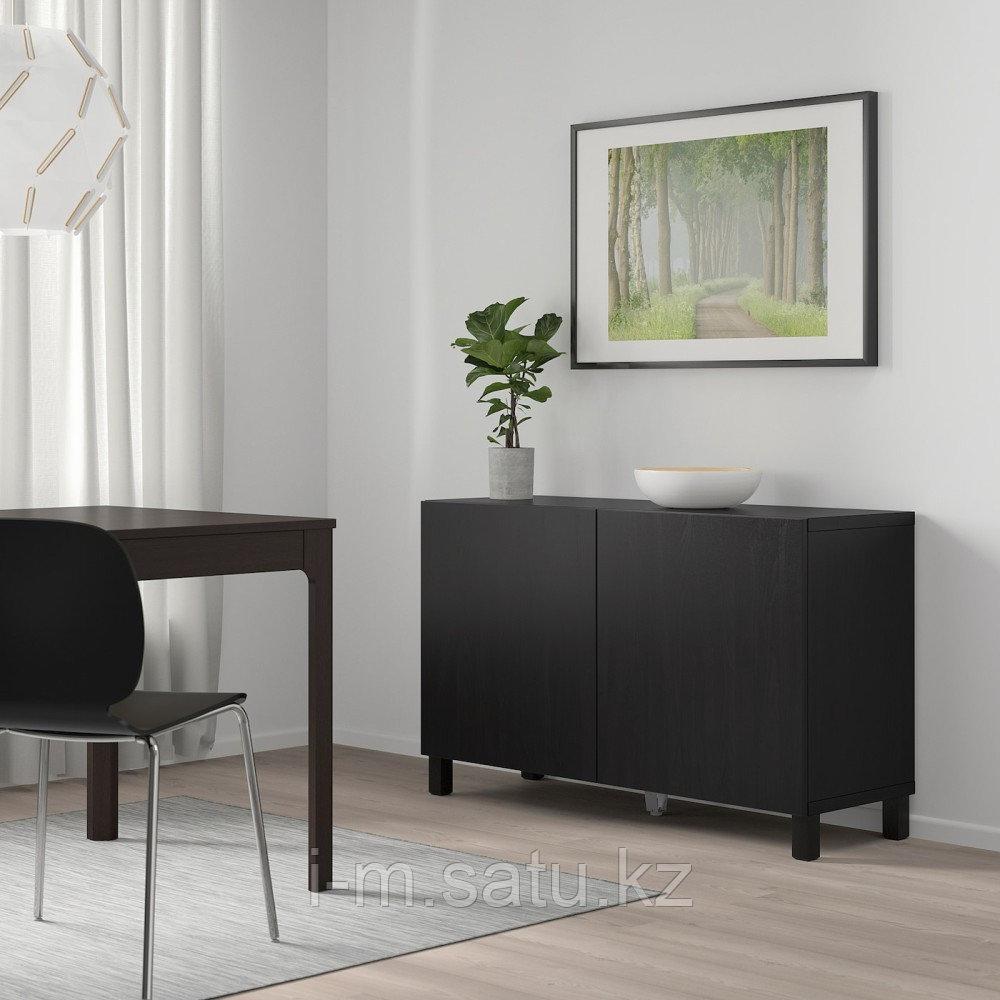 БЕСТО Комбинация для хранения с дверцами, черно-коричневый, Лаппвикен черно-коричневый, 120x40x74 см