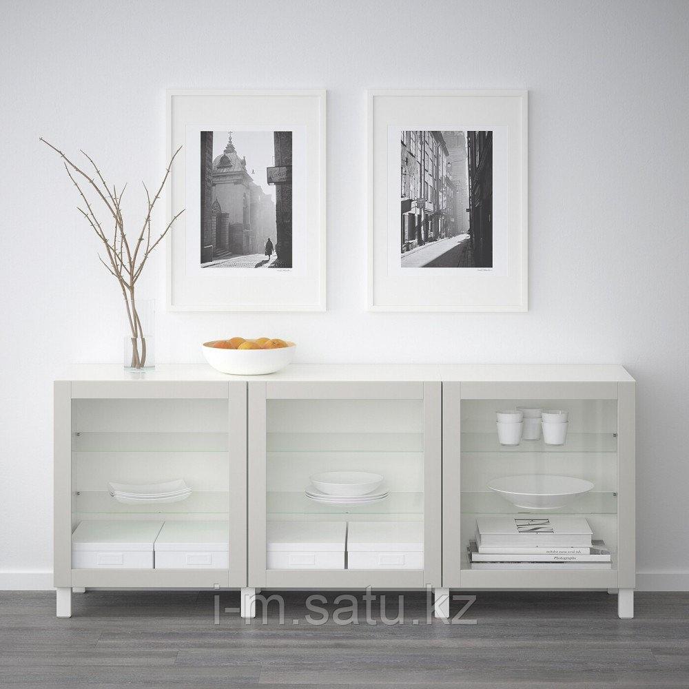 БЕСТО Комбинация для хранения с дверцами, белый, Синдвик светло-серый прозрачное стекло, 180x40x74 см