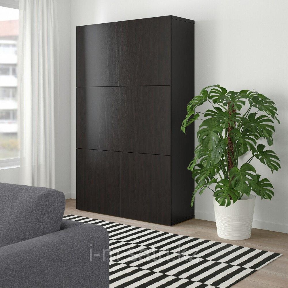 БЕСТО Комбинация для хранения с дверцами, Лаппвикен черно-коричневый, 120x40x192 см