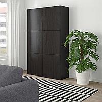 БЕСТО Комбинация для хранения с дверцами, Лаппвикен черно-коричневый, 120x40x192 см, фото 1