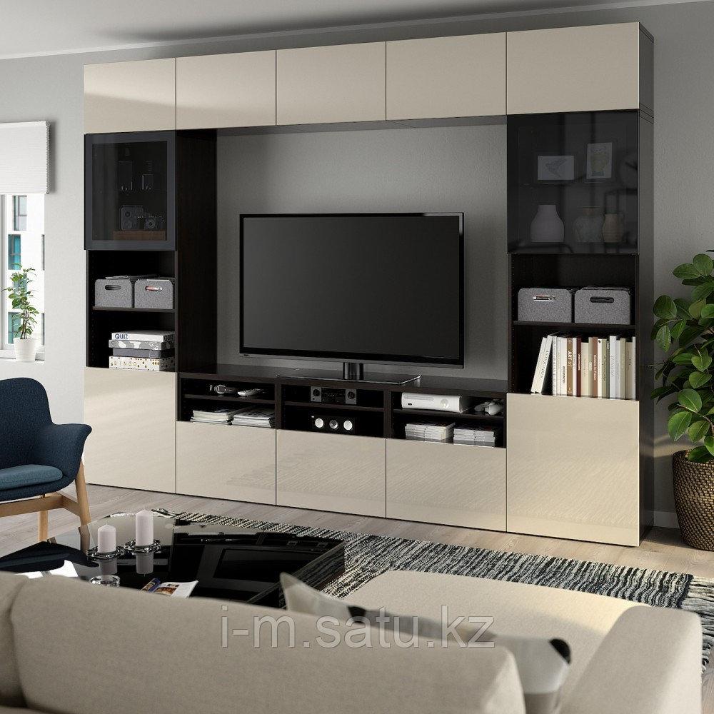 БЕСТО Шкаф для ТВ, комбин/стеклян дверцы, черно-коричневый, Сельсвикен глянцевый/бежевый 300x40x230 см
