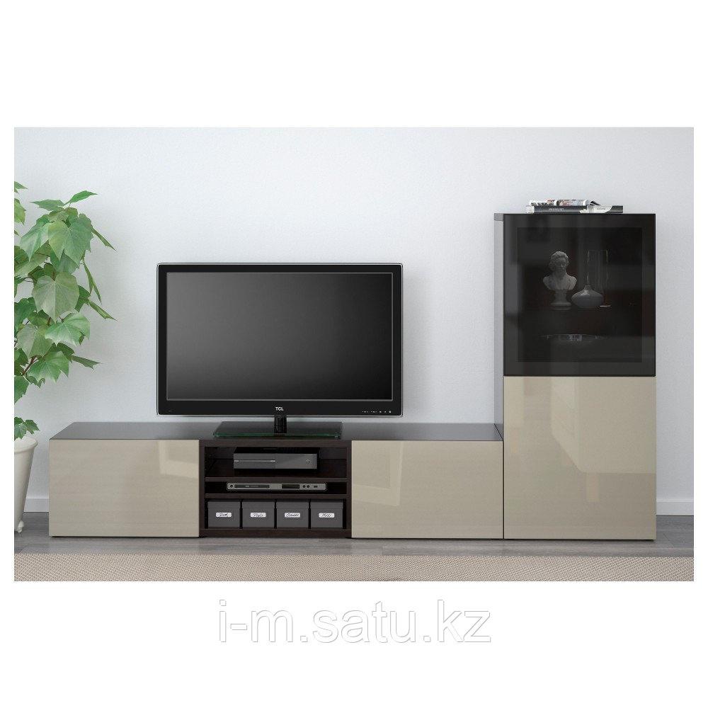 БЕСТО Шкаф для ТВ, комбин/стеклян дверцы, черно-коричневый, Сельсвикен глянцевый/бежевый 240x40x128 см
