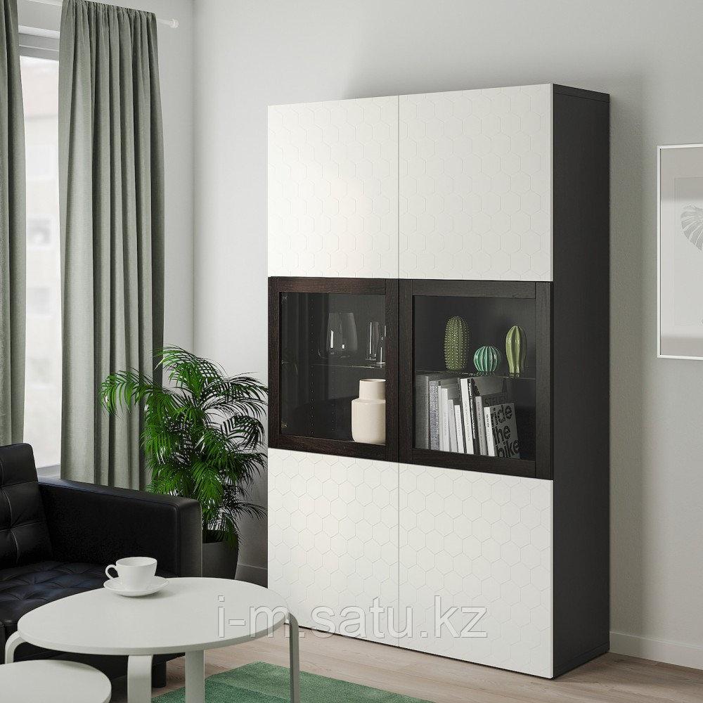 БЕСТО Комбинация д/хранения+стекл дверц, черно-коричневый, вассвикен белый прозрачное стекло, 120x40x192 см