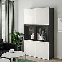 БЕСТО Комбинация д/хранения+стекл дверц, черно-коричневый, вассвикен белый прозрачное стекло, 120x40x192 см, фото 1