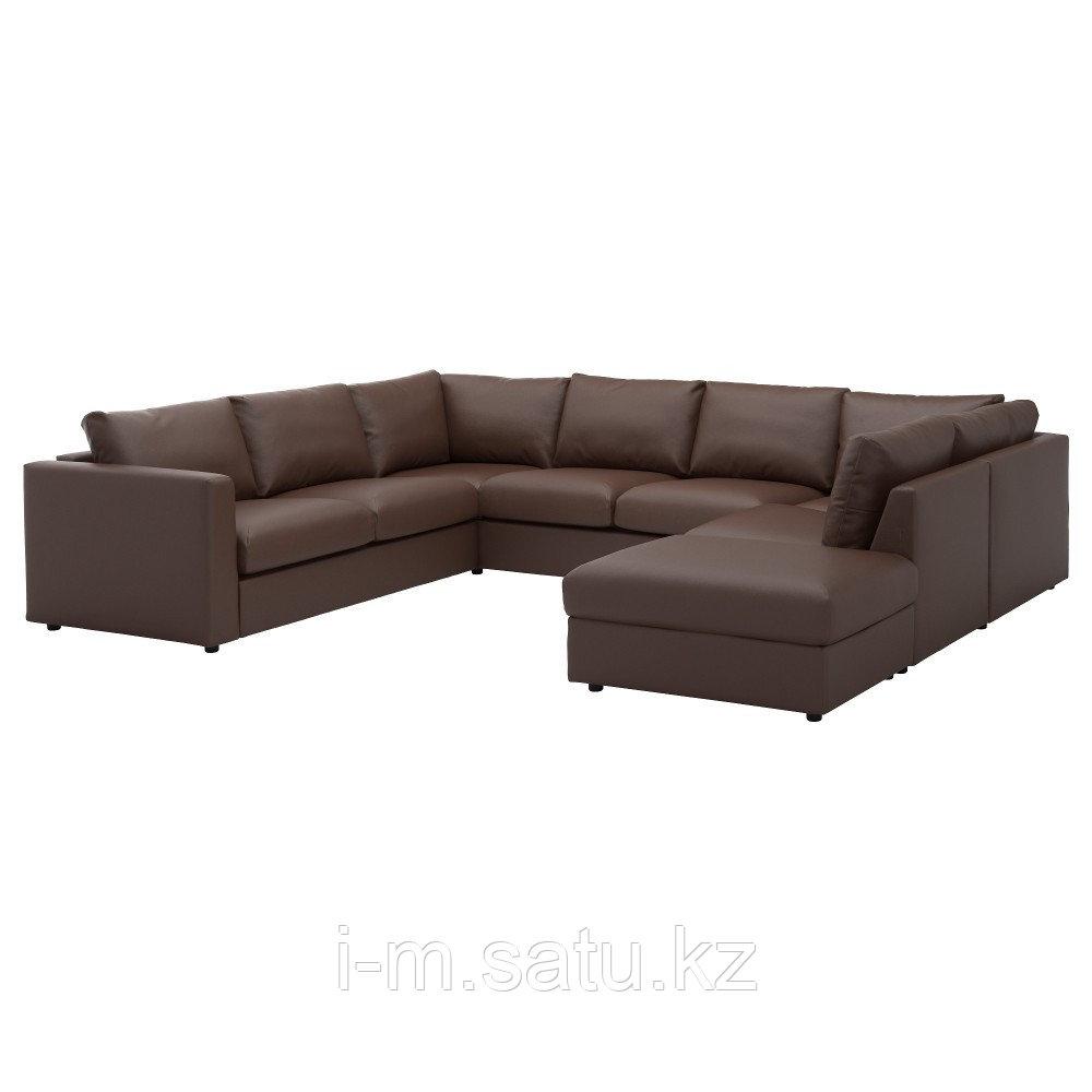ВИМЛЕ 6-местный п-образный диван, с открытым торцом, Фарста темно-коричневый, с открытым торцом/Фарста темно-к