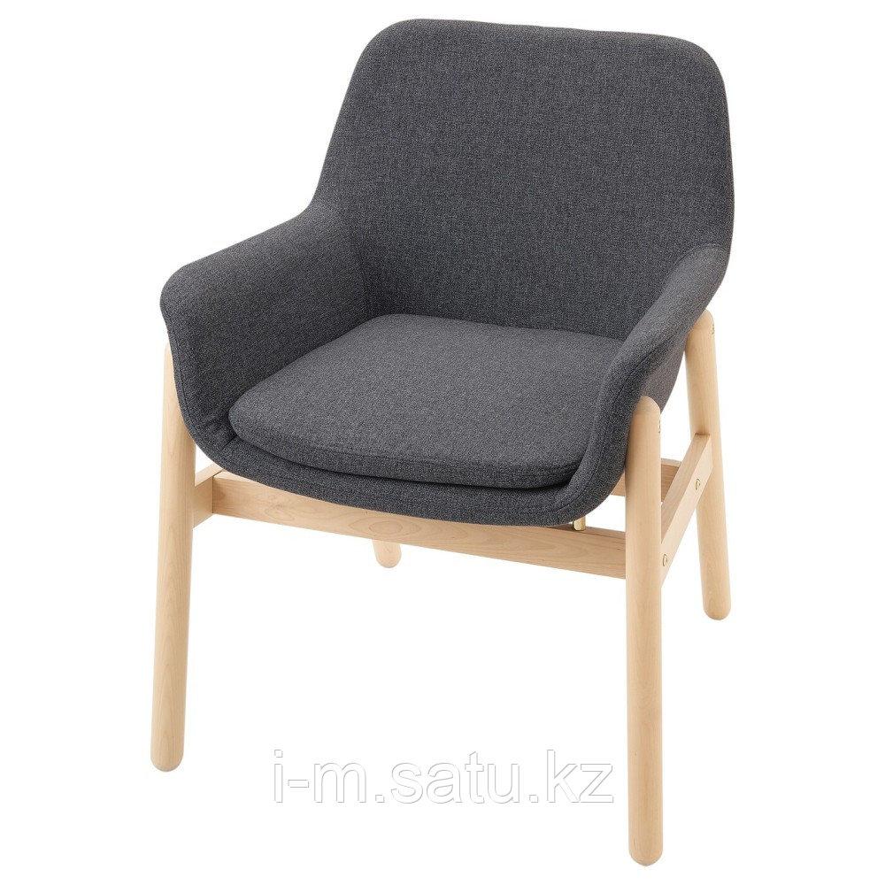ВЕДБУ Легкое кресло, береза, Гуннаред классический серый, белый
