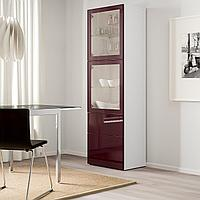 БЕСТО Комбинация д/хранения+стекл дверц, белый Сельсвикен, темный красно-коричневый  60x42x193 см