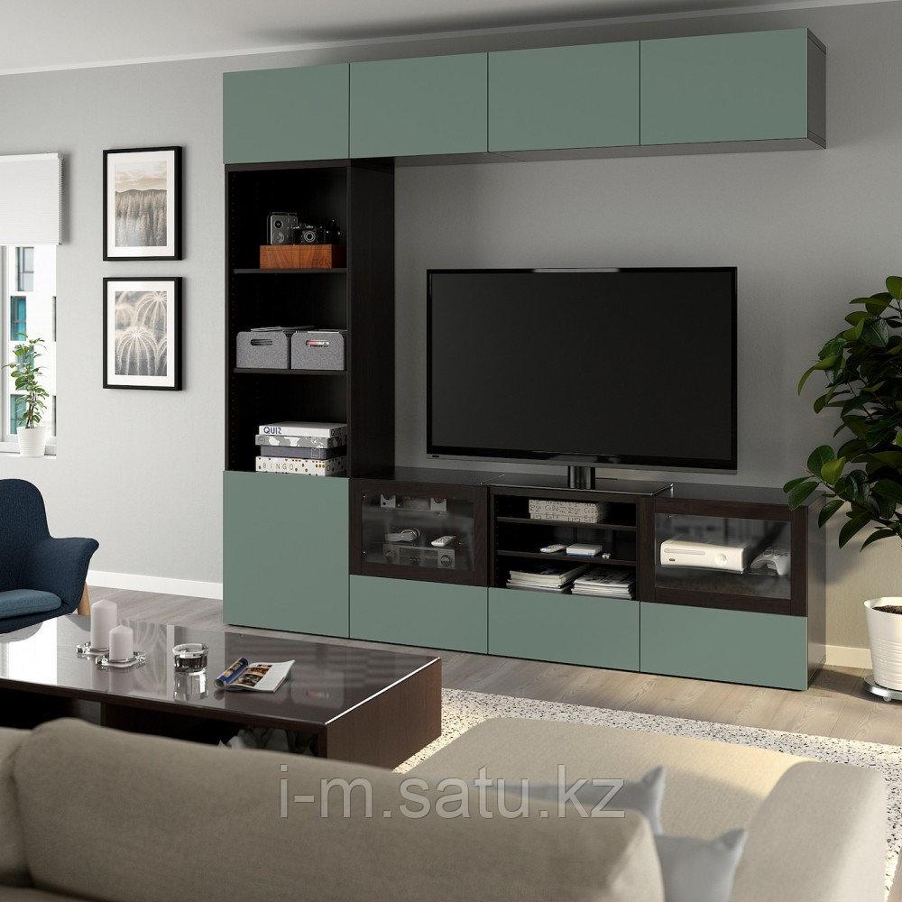 БЕСТО Шкаф для ТВ, комбин/стеклян дверцы, черно-коричневый, Нотвикен серо-зеленый  240x42x230 см