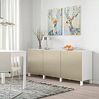 БЕСТО Комбинация для хранения с дверцами, белый, РИКСВИК/стуббарп под светлую бронзу, 180x42x74 см, фото 1