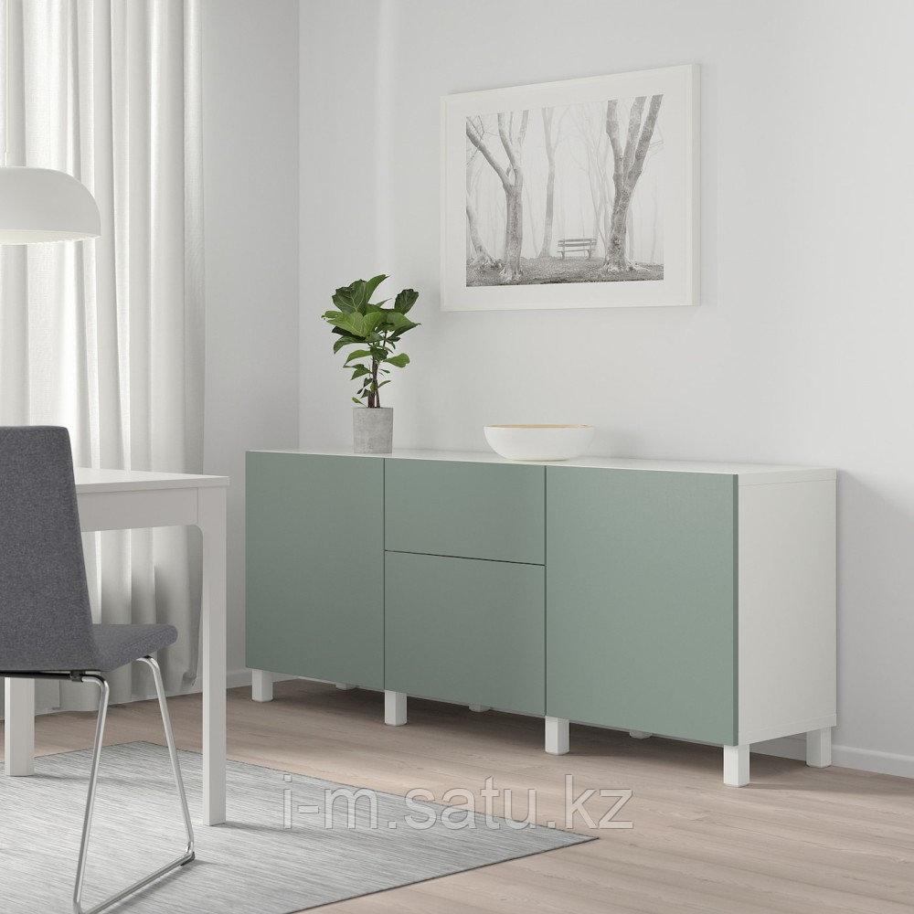 БЕСТО Комбинация для хранения с ящиками, белый, нотвикен/стуббарп серо-зеленый, 180x42x74 см