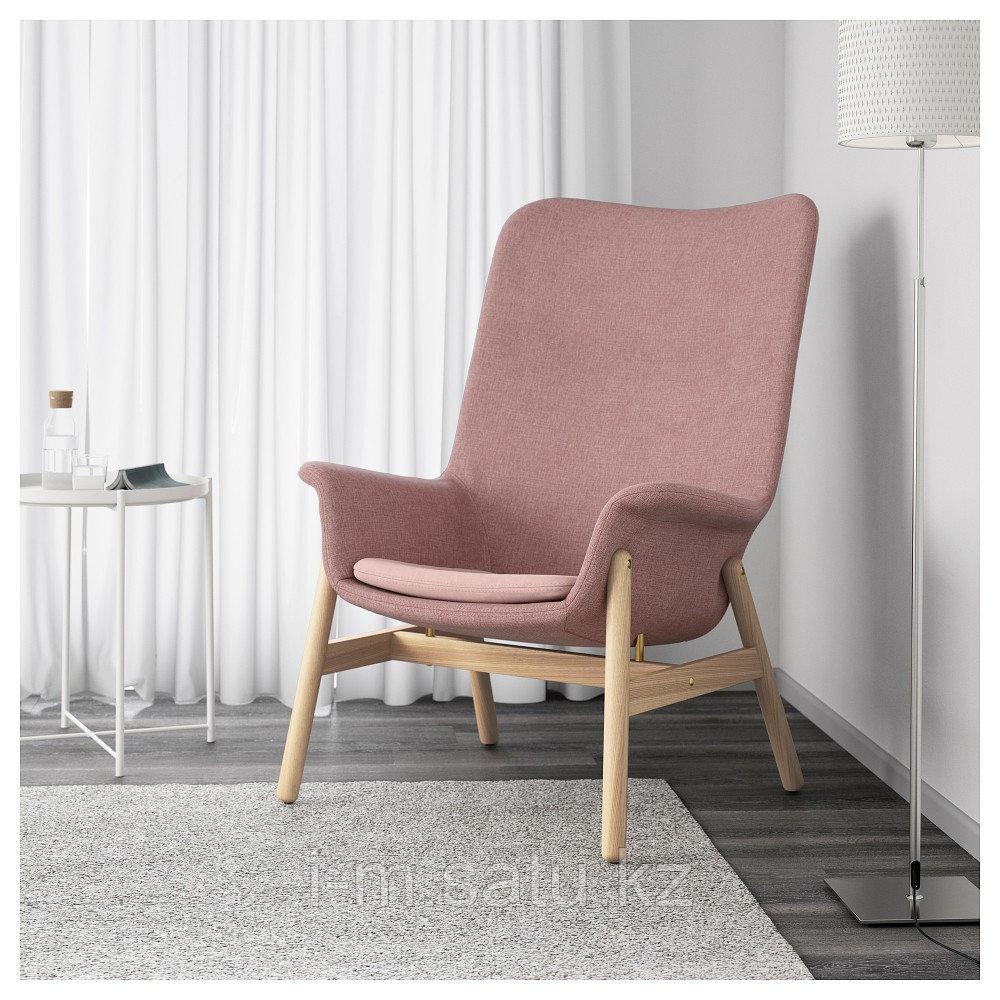 ВЕДБУ Кресло c высокой спинкой, Гуннаред светлый коричнево-розовый, Гуннаред светлый коричнево-розовый