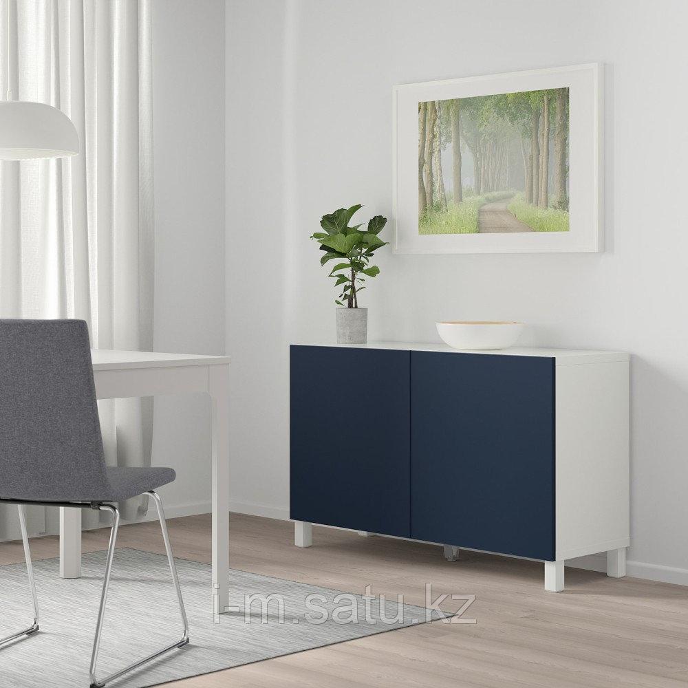 БЕСТО Комбинация для хранения с дверцами, белый, нотвикен/стуббарп синий, 120x42x74 см