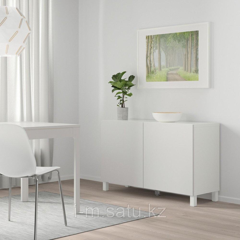 БЕСТО Комбинация для хранения с дверцами, белый, Лаппвикен светло-серый, 120x40x74 см