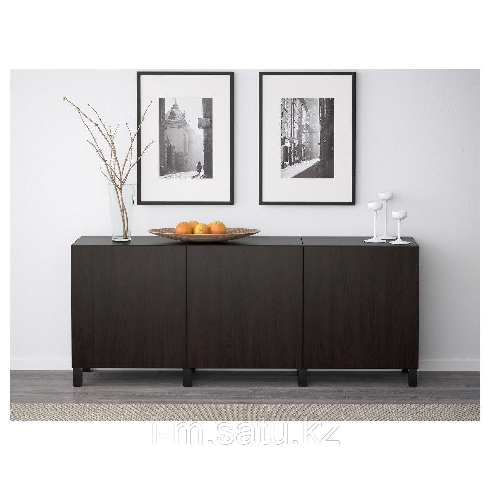 БЕСТО Комбинация для хранения с дверцами, Лаппвикен черно-коричневый, 180x40x74 см