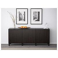 БЕСТО Комбинация для хранения с дверцами, Лаппвикен черно-коричневый, 180x40x74 см, фото 1