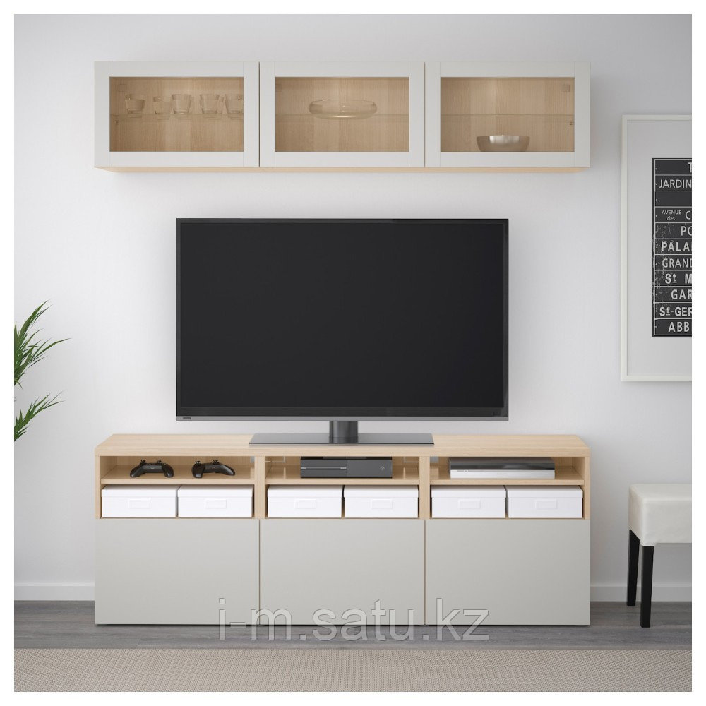 БЕСТО Шкаф для ТВ, комбин/стеклян дверцы, под беленый дуб, Лаппвикен светло-серый  180x40x192 см