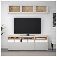 БЕСТО Шкаф для ТВ, комбин/стеклян дверцы, под беленый дуб, Лаппвикен светло-серый  180x40x192 см, фото 1