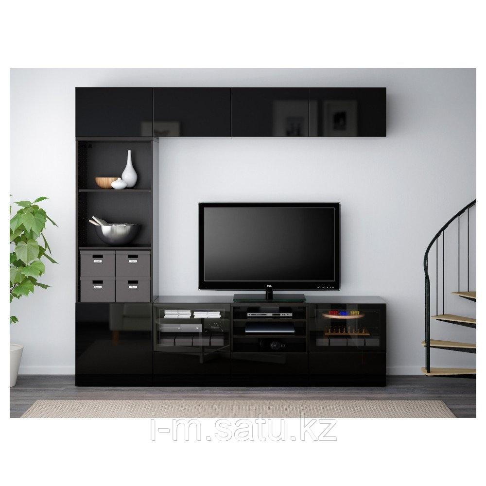 БЕСТО Шкаф для ТВ, комбин/стеклян дверцы, черно-коричневый, Сельсвикен глянцевый/черный 240x40x230 см
