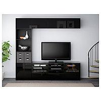 БЕСТО Шкаф для ТВ, комбин/стеклян дверцы, черно-коричневый, Сельсвикен глянцевый/черный 240x40x230 см, фото 1