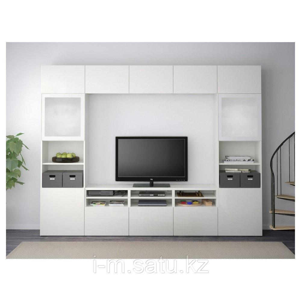 БЕСТО Шкаф для ТВ, комбин/стеклян дверцы, белый, Сельсвикен глянцевый/белый матовое стекло, 300x40x230 см