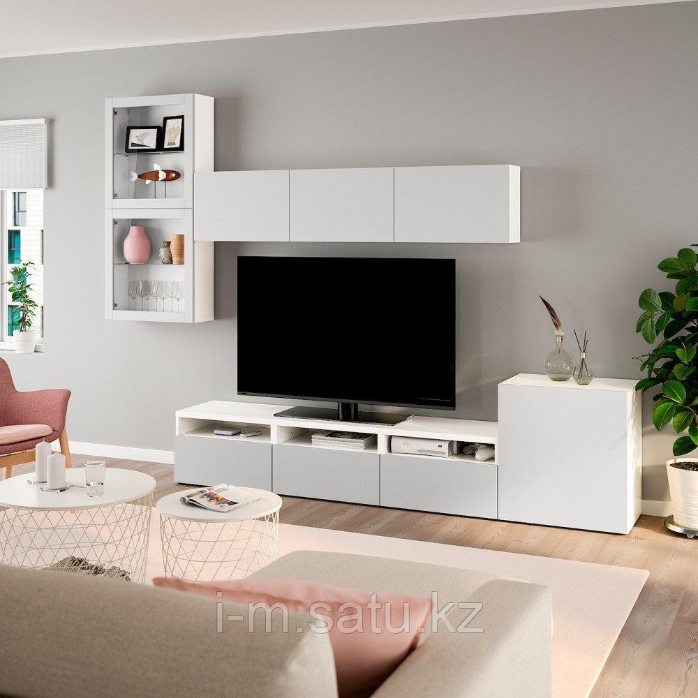 БЕСТО Шкаф для ТВ, комбин/стеклян дверцы, белый, Лаппвикен светло-серый прозрачное стекло, 300x20/40x211 см