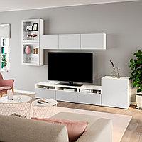 БЕСТО Шкаф для ТВ, комбин/стеклян дверцы, белый, Лаппвикен светло-серый прозрачное стекло, 300x20/40x211 см, фото 1