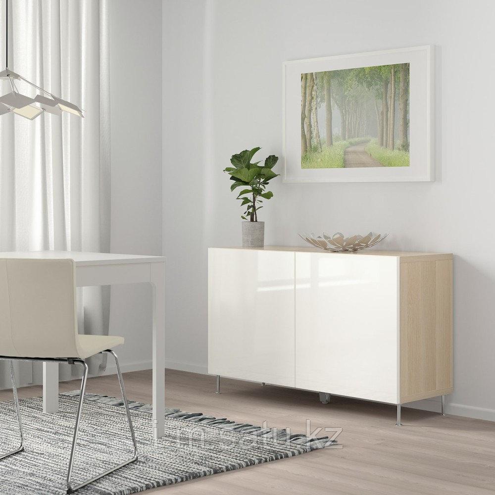БЕСТО Комбинация для хранения с дверцами, под беленый дуб, СЕЛЬСВ/СТАЛЛАРП глянцевый/белый, 120x40x74 см