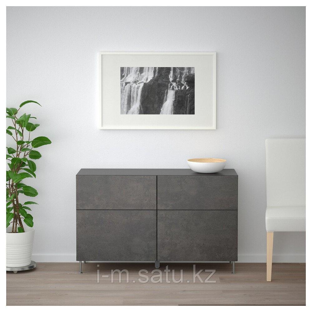 БЕСТО Комб для хран с дверц/ящ, черно-коричневый Кэлльв/Сталларп, темно-серый под бетон, 120x40x74 см