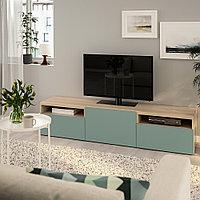 БЕСТО Тумба под ТВ, под беленый дуб, Нотвикен серо-зеленый, 180x42x39 см, фото 1