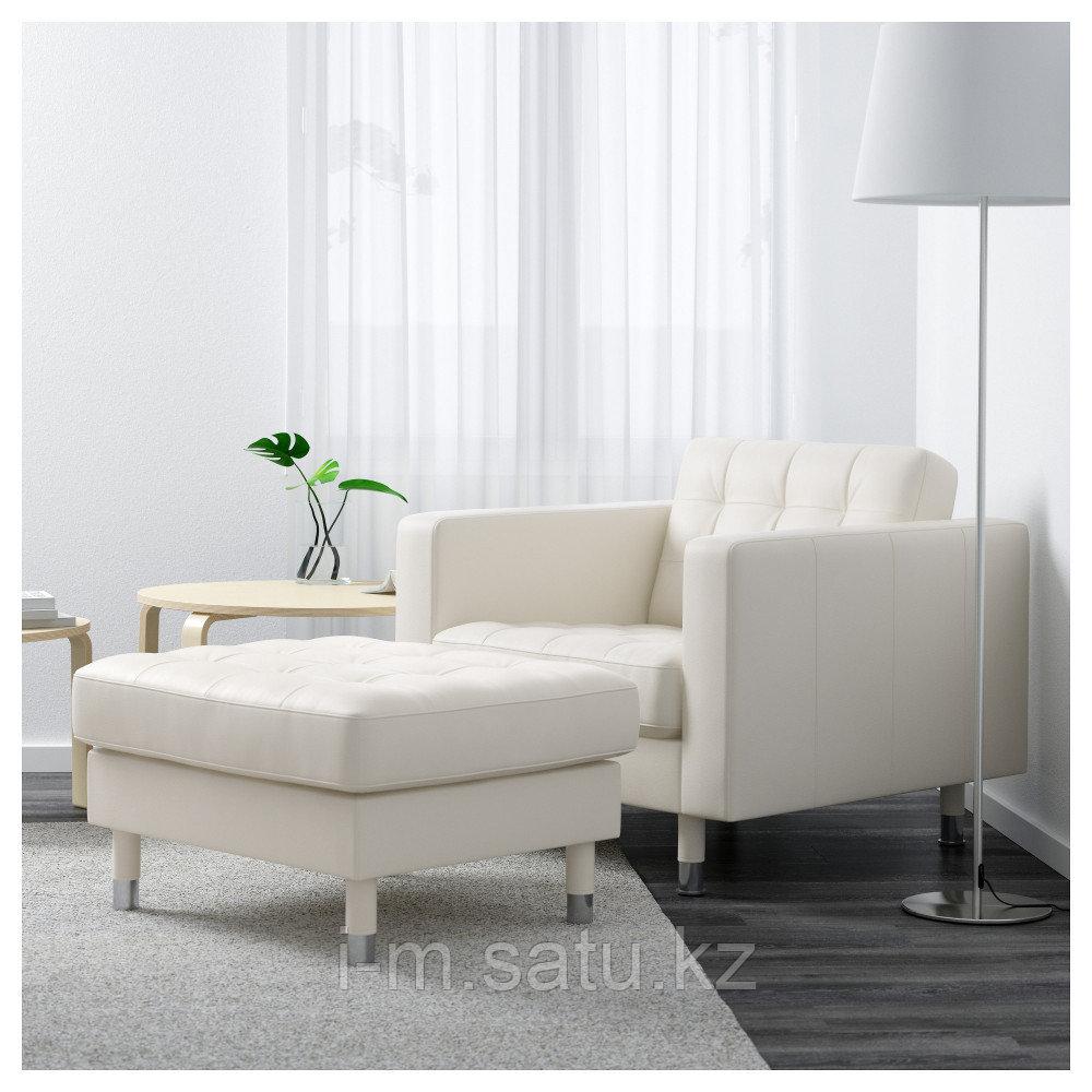 ЛАНДСКРУНА Кресло, Гранн, Бумстад белый/металл, Гранн/Бумстад белый металлический