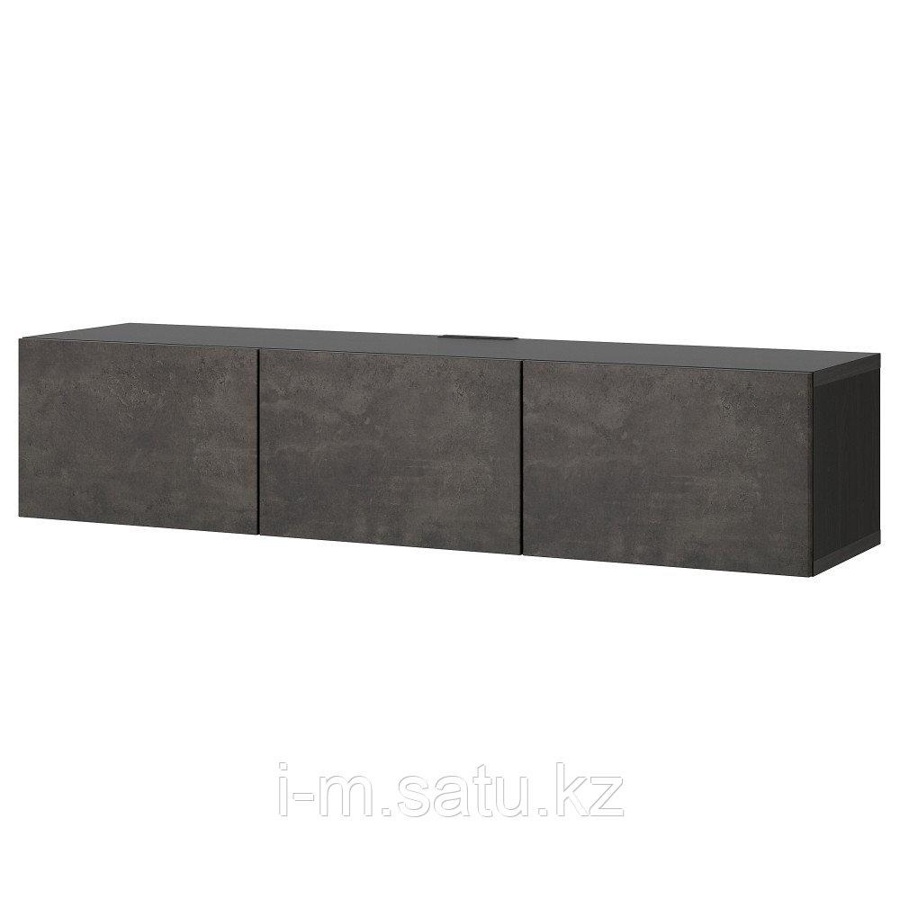 БЕСТО Тумба под ТВ, с дверцами, черно-коричневый, Кэлльвикен под бетон, 180x42x38 см