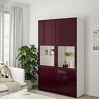 БЕСТО Комбинация д/хранения+стекл дверц, белый Сельсвикен, темный красно-коричневый 120x42x192 см