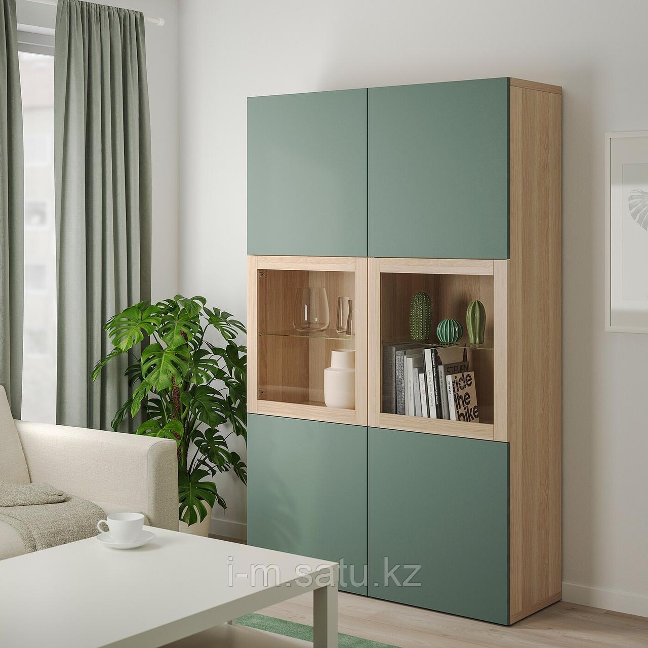 БЕСТО Комбинация д/хранения+стекл дверц, под беленый дуб, Нотвикен серо-зеленый  120x42x192 см