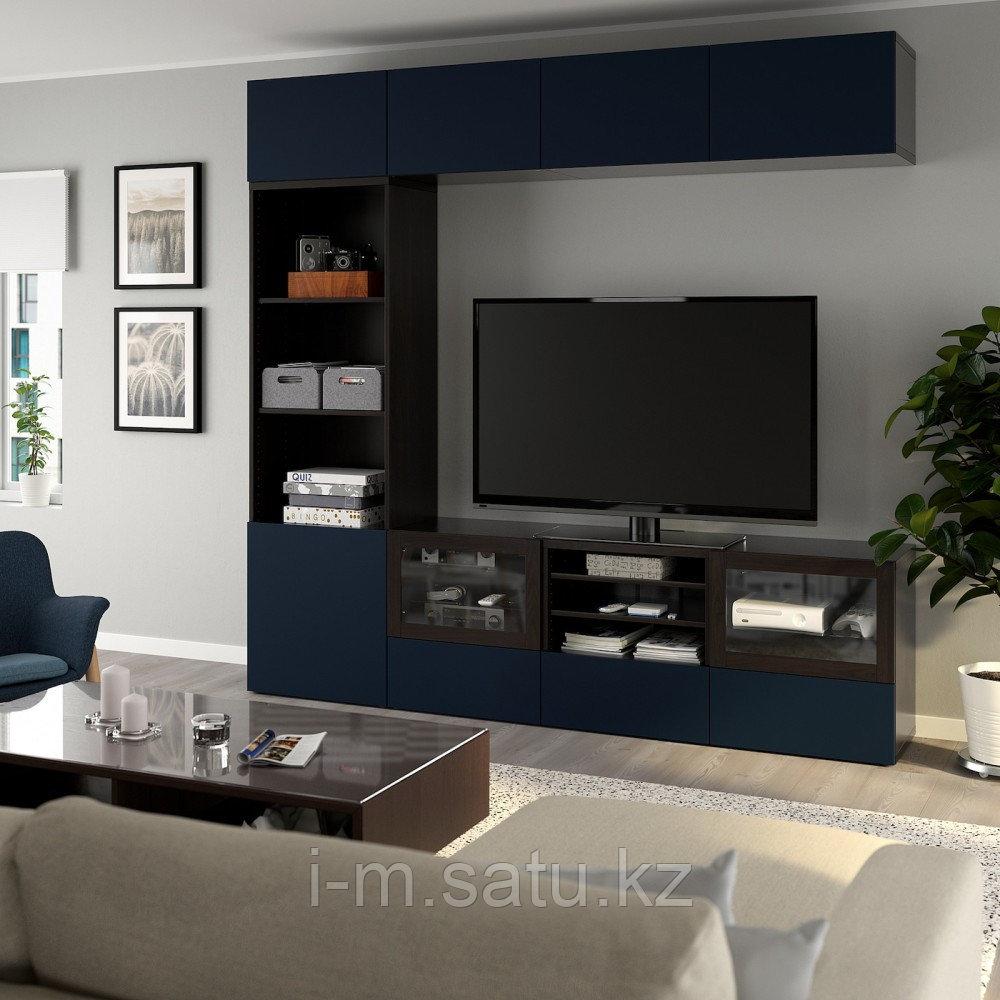 БЕСТО Шкаф для ТВ, комбин/стеклян дверцы, черно-коричневый, Нотвикен синий прозрачное стекло, 240x42x230 см
